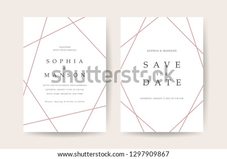 Luxury Wedding invitation Card. Design with Minimal Golden Geometric shape pattern Can be adapt to covers design, RSVP, brochure, Packaging backgrounds, poster and greeting cards. Vector illustration. #1297909867