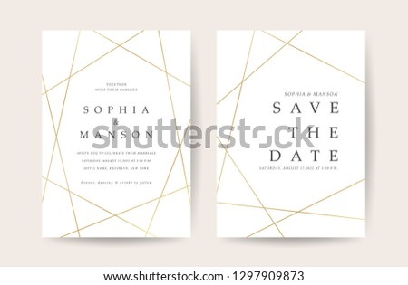 Luxury Wedding invitation Card. Design with Minimal Golden Geometric shape pattern Can be adapt to covers design, RSVP, brochure, Packaging backgrounds, poster and greeting cards. Vector illustration. #1297909873