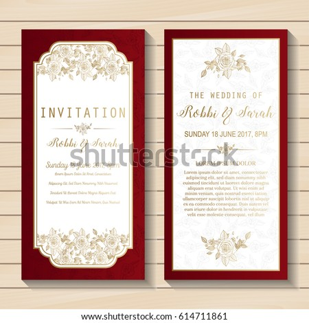 Luxury wedding invitation card sweet with floral Templates