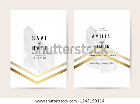 Luxury Wedding invitation card with marble modern texture template. #1243150114