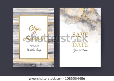Luxury wedding invitation cards with gold and grey  marble watercolor texture. Save the date.