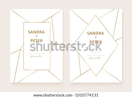 Modern geometric invitation download free vector art stock luxury wedding invitation cards with gold geometric pattern vector modern design template stopboris Choice Image
