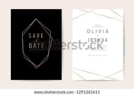 Luxury wedding invitation cards with gold marble texture and geometric pattern minimal style vector design template #1291265611