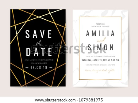 Luxury wedding invitation cards with gold marble texture and geometric pattern vector design template #1079381975