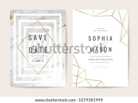 Luxury wedding invitation cards with gold marble texture and geometric pattern vector design template #1079381999