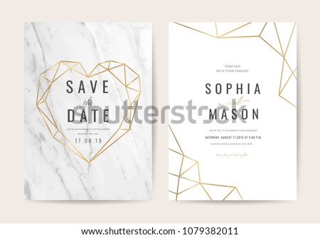 Luxury wedding invitation cards with gold marble texture and geometric pattern vector design template #1079382011