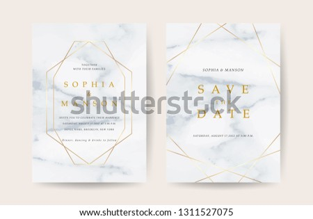 Luxury wedding invitation cards with gold marble texture and geometric pattern vector design template #1311527075