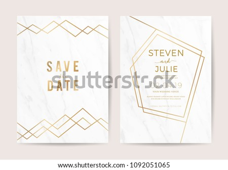 Luxury wedding invitation cards with marble texture and geometric gold pattern vector design template