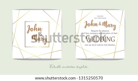Luxury wedding invitation cards with marble texture and geometric gold pattern vector design template #1315250570