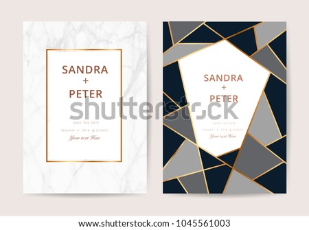 Vector geometrical wedding invitation download free vector art luxury wedding invitation cards with marble texture and golden geometric line vector illustration stopboris Image collections