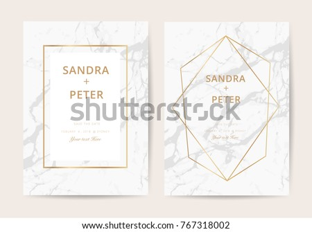Luxury  wedding invitation cards with marble texture and golden line vector illustration.