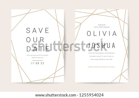 Luxury wedding invitation cards with modern geometric gold pattern vector design template #1255954024