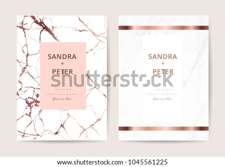 Luxury  wedding invitation cards with rose gold marble texture vector illustration.