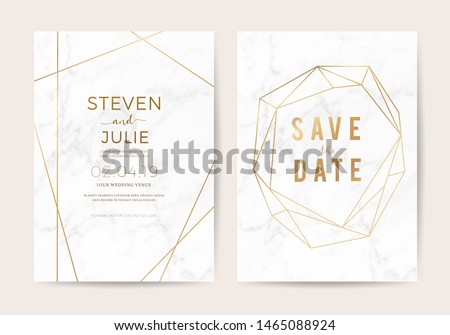 Luxury wedding invite cards with White marble texture and gold border pattern vector design template