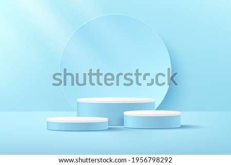 Luxury white and blue color cylinder pedestal podium. Light blue minimal wall scene. Circle backdrop and window lighting. Abstract modern vector rendering 3d shape for products display presentation.
