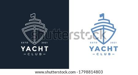 Luxury yacht club logo line icon. Premium leisure boat marine sign. Cruise ship travel symbol. Vector illustration.