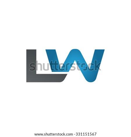 LW company linked letter logo blue