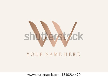 LW monogram logo.Typographic icon with letter l and letter w.Uppercase lettering sign in rose gold metallic color isolated on light background.Alphabet customized initials.