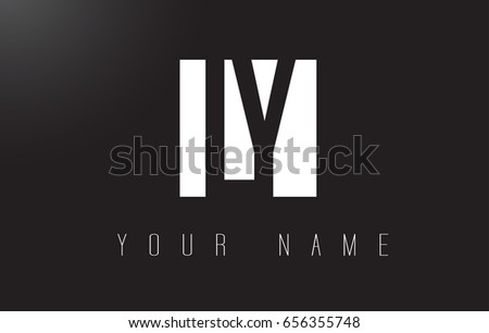 LY Letter Logo With Black and White Letters Negative Space Design.