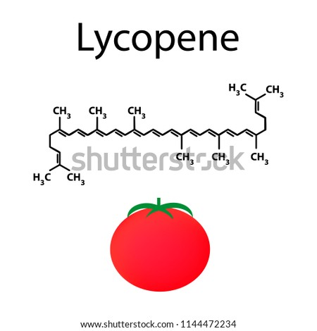 Lycopene is a chemical molecular formula. tomato. Vector illustration on isolated background