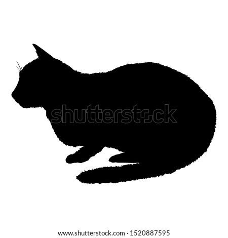 Lying Cat SIlhouette. Vector Black Feline Logo.