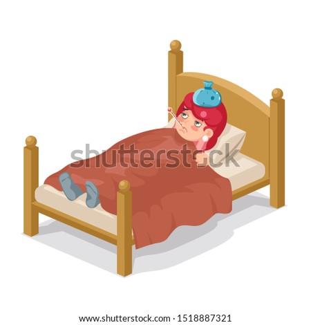 Lying in bed sick woman ill cold flu disease illness virus isometric cartoon character female design vector illustration