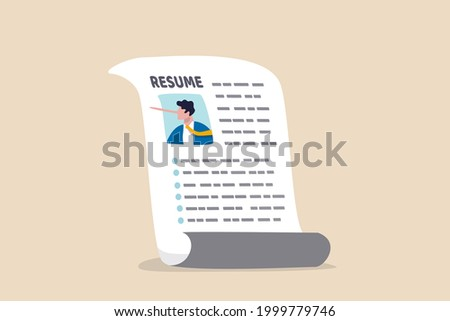 Lying on resume CV to get hired, dishonesty or integrity problem on work experience and career history, fake education degree concept, resume paper with photo of liar pinocchio long nose businessman. Сток-фото ©