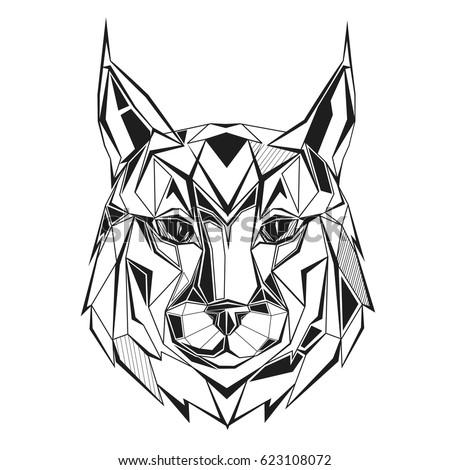 Lynx stylized triangle polygonal model