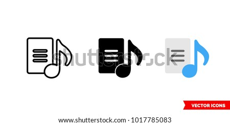 Shutterstock Lyrics icon of 3 types: color, black and white, outline. Isolated vector sign symbol.