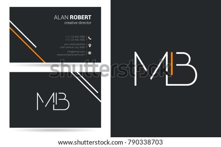 m   b joint stroke letter logo
