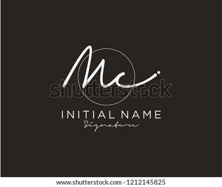 M C Signature initial logo template vector Zdjęcia stock ©
