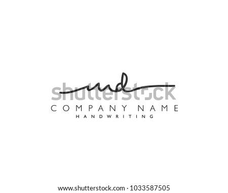 m d initial handwriting logo