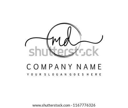 M D Initial handwriting logo vector