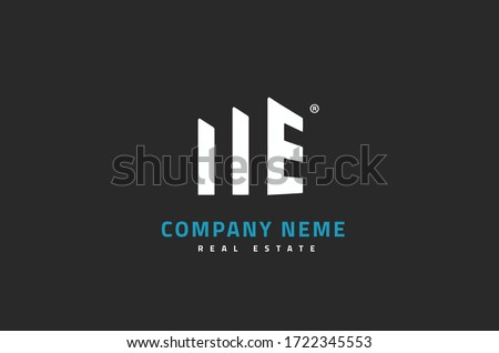 M + E logo design real estate   Initial letter M and letter E on building symbol Stok fotoğraf ©