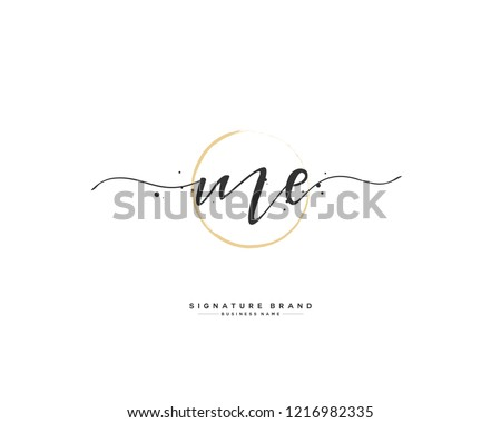 M E ME initial logo handwriting  template vector