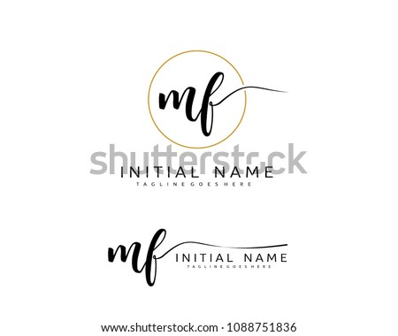 m f initial handwriting logo
