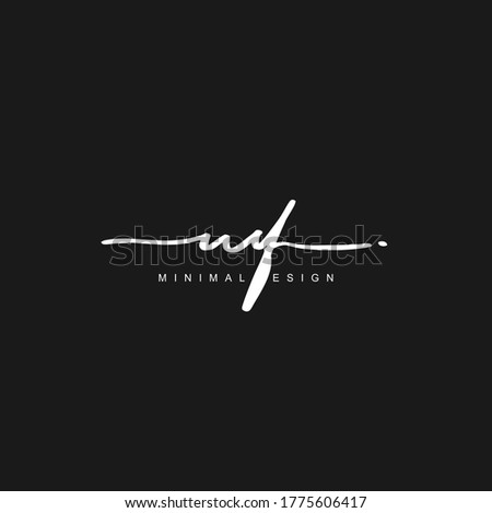M F MF Initial handwriting or handwritten logo for identity. Logo with hand drawn style. Stock fotó ©