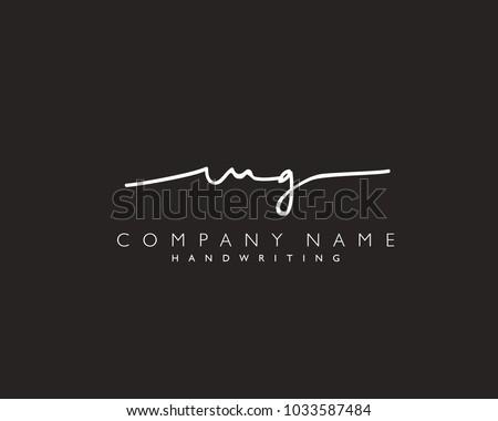 M G Initial handwriting logo Stock fotó ©