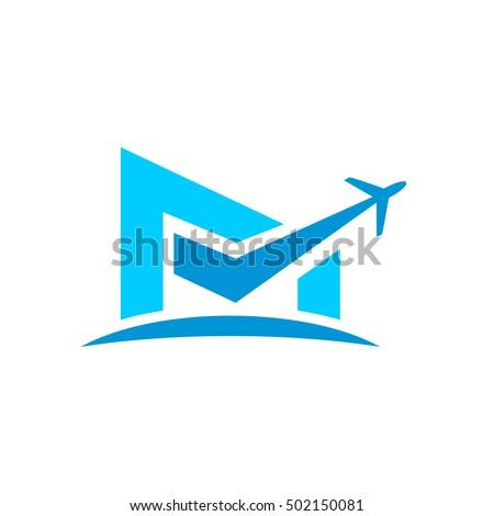 m initial logo   airplane logo