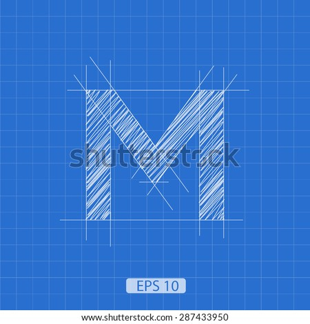 m letter architectural plan on