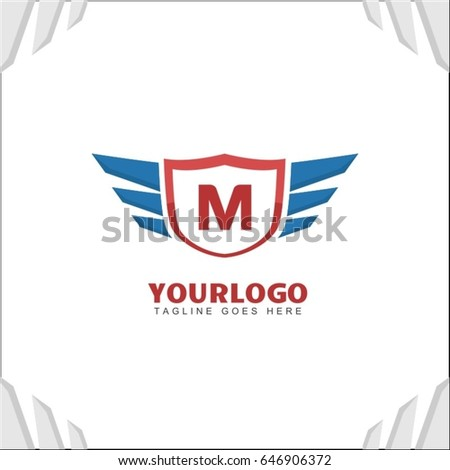 M letter brand identity. Falcon wing logo vector icon. Blue shield design template.