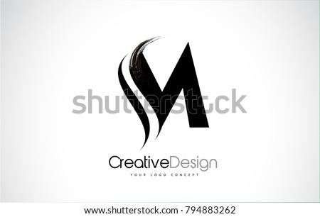 M Letter Design Brush Paint Stroke. Letter Logo with Black Paintbrush Stroke.