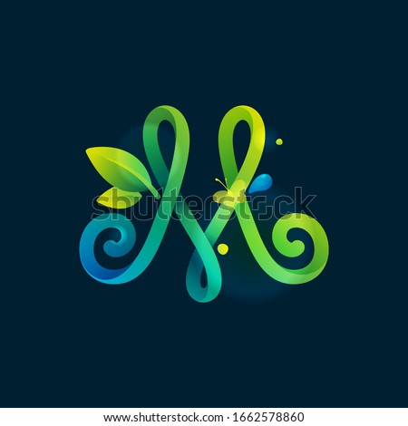 m letter eco logo with green