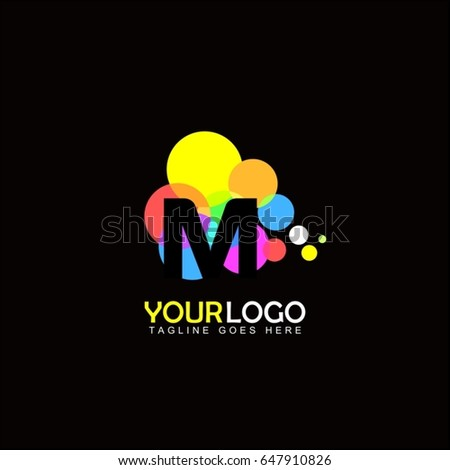 M letter event brand identity. Creative digital abstract and children style. Happy colorful balloon design.