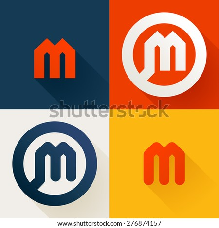 m letter line logo set  design