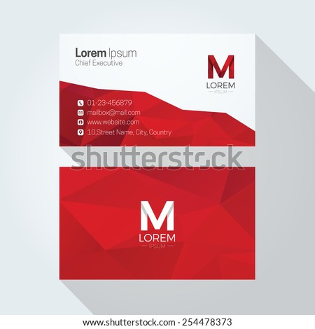 M Letter Logo Abstract Polygonal Background Business card template