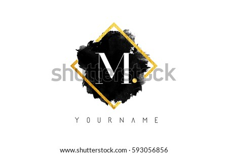 M Letter Logo Design with Black ink Stroke over Golden Square Frame.