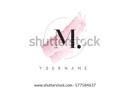 M Letter Logo with Watercolor Pastel Aquarella Brush Stroke and Circular Rounded Design.