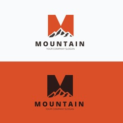 M letter, Mountain logo template