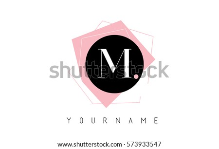 M Letter Pastel Geometric Logo Design with Round and Rectangular Shapes.